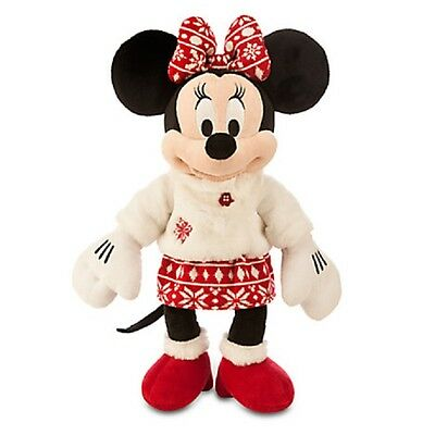 """Minnie Mouse Holiday Plush 16"""" """"disney Store 2015"""" Embroidered On Foot Christmas"""