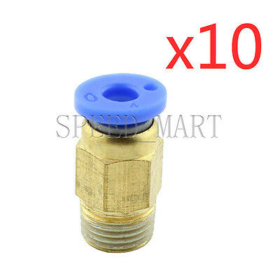 10XMale Connector 4mm Tube 1/8 BSPT Threaded Pneumatic Quick Release Air Fitting