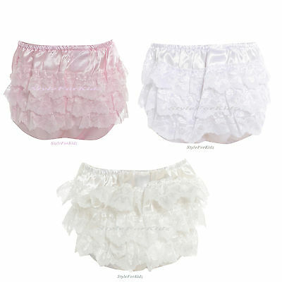 Baby Girls Frilly Knickers White,pink, Ivory/cream Satin Lace Christening
