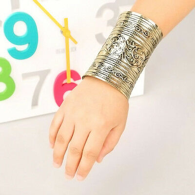 Hot Fashion Antique Curved Jewelry Long Wide Vintage Metal Cuff Bracelet Bangle