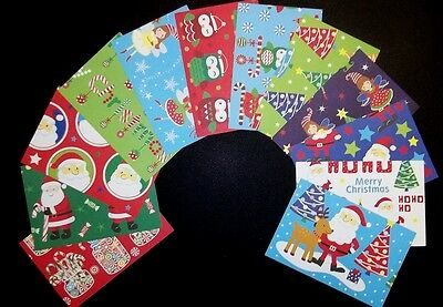 *MERRY SANTA*  Fun & Colourful Christmas Scrapbooking Papers x 12 *15cm x 10cm