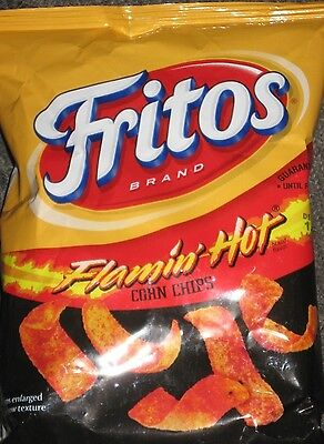 2 Bags Flamin' Hot Fritos Corn Chips 4.25 oz Flamin' Hots and a Cold Brew WOW