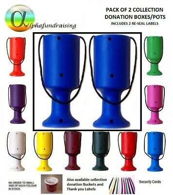 Pack Of 2 Handheld Charity Donation Collection Money Tins/ Boxes/Pots + 2 Labels