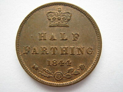 1844 half farthing, E over N, A UNC.