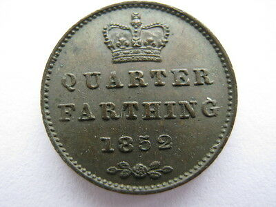 1852 copper Quarter Farthing, UNC.