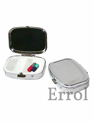 Pill Box. Metal. 2 Compartments. Chrome Silver Effect. In Velvet Pouch UK SELLER
