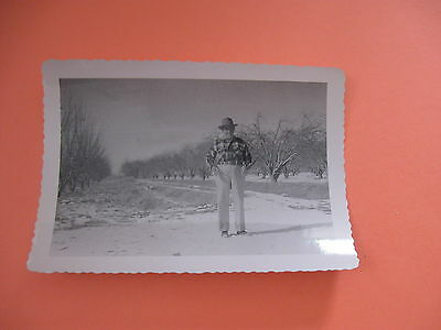 "vintage black & white 1940's man in orchard  4 1/2"" x 3"""