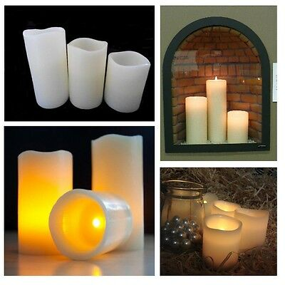 3 Unscented LED Battery Operated WAX Candles Flicker Flame REAL LOOK Smoke Free