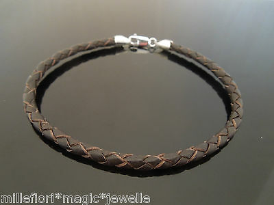 """4mm Brown Braided Leather & 925 Sterling Silver Wristband Bracelet ~ 8"""" 8.5"""" 9"""""""