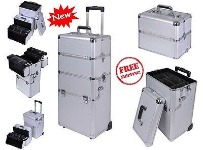 Professional Rolling Makeup Train Case Cosmetic Organizer Trolley Box Beauty
