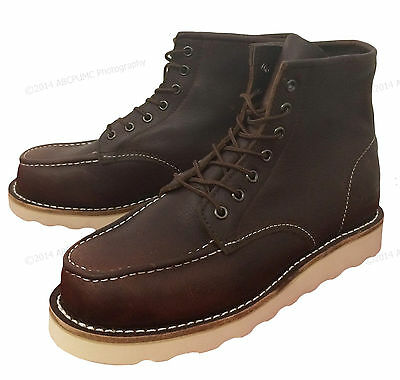 "Men's Moc Toe Boots 6"" Leather Wedge Tred Sole Lace Up Casual / Work Shoes Sizes"