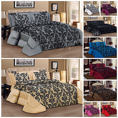 Luxury Bedspread 3 piece Flock Quilted BedSpread Comforter Set Size Double king