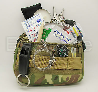 NEW TACTICAL COMBAT SURVIVAL KIT camouflage zip belt pouch scouts cadets hiking
