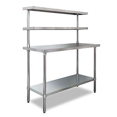 Prep Bench with Undershelf & 2 Upper Shelves, Stainless Steel 1500x1200x600mm