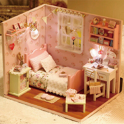 DIY Wooden Dolls house Miniature Kit w/ Cover /LED Light Dollhouse All Furniture