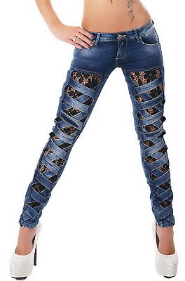 Women's Slim Skinny Lace Lined Cutout Stretch Denim Jeans - XS / S / M / L / XL