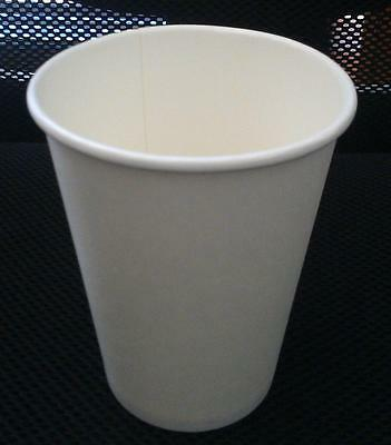 100set 12 oz White Single Wall Disposable Paper Coffee Cups & Lids