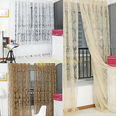 Moderm Floral Voile Door Window Curtain Drape Panel Sheer Long Scarf Valances