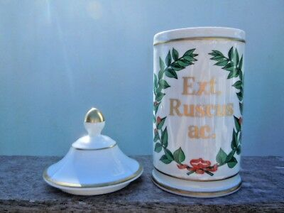 Pot pharmacie porcelaine de Limoges France Ext Ruscus ac