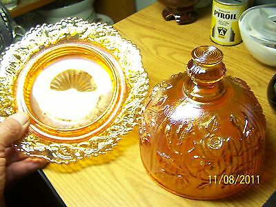 Imperial Glass Marigold Carnival Roses 3-Mold Covered Dish
