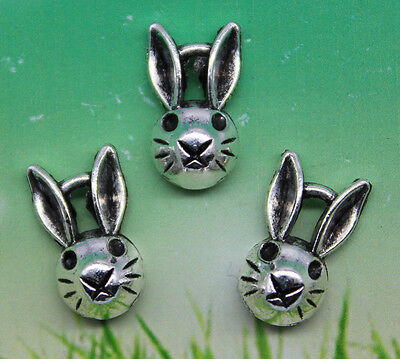 10/30/50/100pcs retro style Cute little rabbit head alloy charms pendant 8x14mm