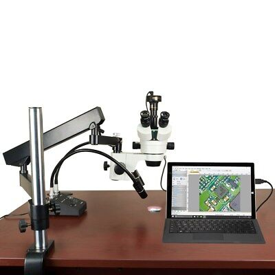 OMAX 7-45X Articulating Microscope for PCB Inspection with 6W LED and 9MP Camera