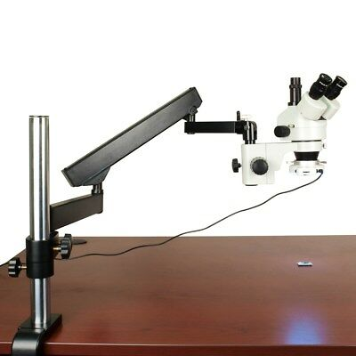 OMAX 7X-45X Articulating Microscope with 54 LED Ring Light for Circuit Boards