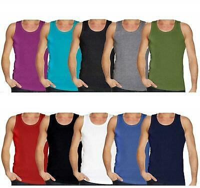 Mens Plain Vest Gaffer Brand Multi Pack Lot Basic Regular Fit Cotton Tank Top