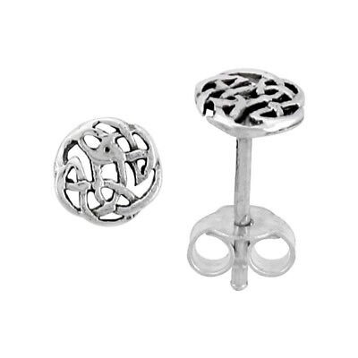 Round Celtic Knot Root Abstract Stud Earrings 1/4 inch Solid 925 Sterling Silver