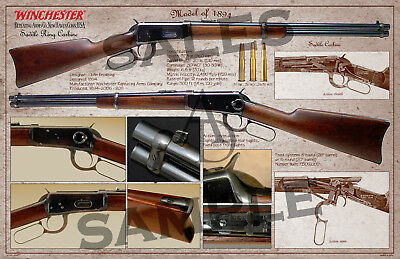 Winchester Lever Action Model of 1894 Saddle Ring Carbine Poster 11 x 17