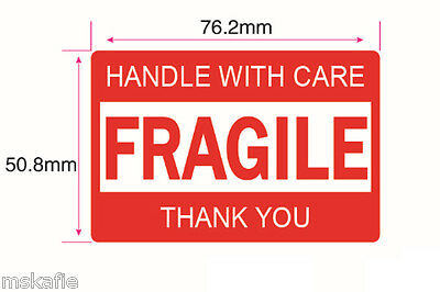 540PCS 76x50mm FRAGILE HANDLE WITH CARE THANK YOU Label Sticker Sheet Warning