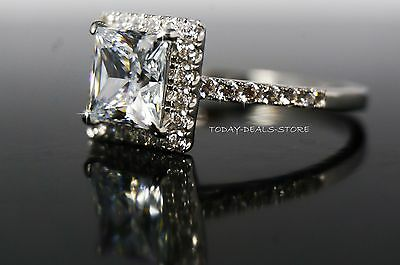2.00 Ct Princess Cut Halo Engagement Wedding Promise Ring Solid 14K White Gold