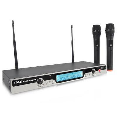 UHF Wireless Microphone System with (2) Handheld Mics, Selectable Frequency