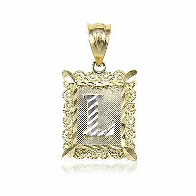10K Solid Yellow Gold Initial Letter Plate Pendant - A-Z Alphabet Necklace Charm