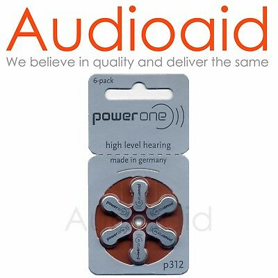 30pc Power One Size 312 Hearing Aid Batteries - Long Expiry Date