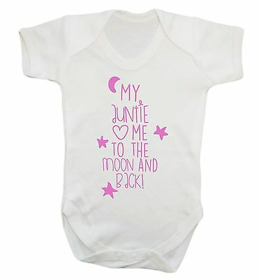 426 auntie loves me to the moon and back baby vest grow aunty pink blue newborn