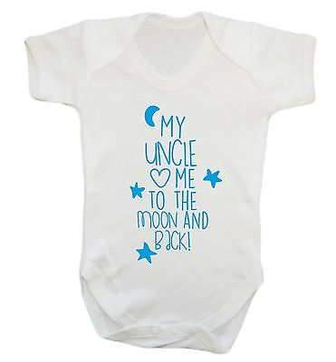 424 uncle loves me to the moon and back baby vest grow gift pink blue newborn