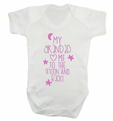 419 Grandad loves me to the moon and back baby vest grow gift pink blue newborn