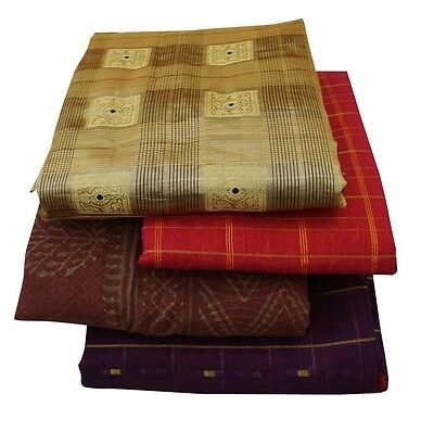 Indian Vintage Lot Von 4 Saree Polyester Wickeln Dekor Multicolor Verwendet Sari