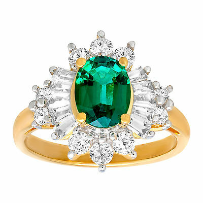 2 1/3 ct Created Emerald & Created Sapphire Ring 14K Gold over Sterling Silver