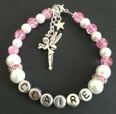 personalised Tinkerbell Hello kitty charm bracelet Birthday Wedding Present