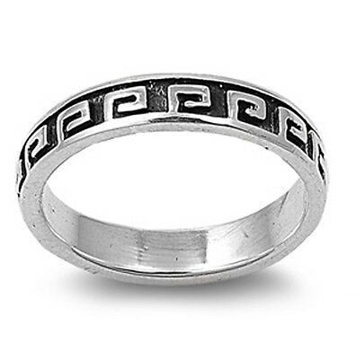 Sterling Silver Womans Greek Key Lock Ring Polished 925 New Band 6mm Sizes 5-10