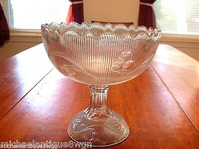 Large Antique Boston Sandwich Flint Glass EAPG Bellflower Footed Bowl Compote