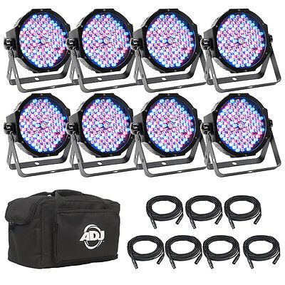 ADJ Mega Flat Pak 8 Plus w/ 8 Flat Par Fixtures, DMX Cables + Soft Bag, OPEN BOX