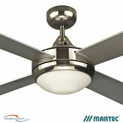 "48"" Brushed Nickel Martec Four Seasons Primo Ceiling Fan & E27 Light Fsp1244S"