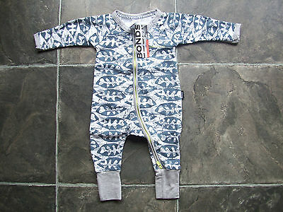BNWT Baby Boy's Bonds Blue, White & Grey Zip Wondersuit/Coverall Size 00