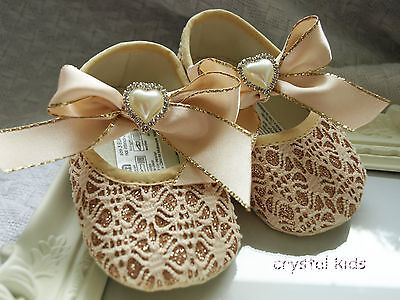 STUNNING Baby Girls Shoes Sparkly Gold Christening Party Pram Shoes 3 sizes