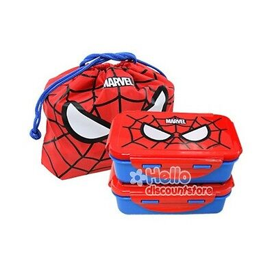 Marvel Spider Man Lunch Box Bento Case x2 With Bag