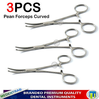 Artery Haemostatic Locking Pean Forceps Curved X 3 Surgical Hemostat Pliers New