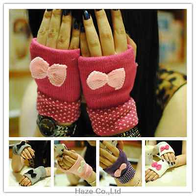 New LADIES/WOMENS armer wool Fashion Knitted bow Gloves Hot gift